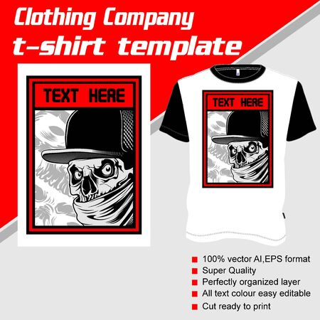 T-shirt template, fully editable with gangster vector