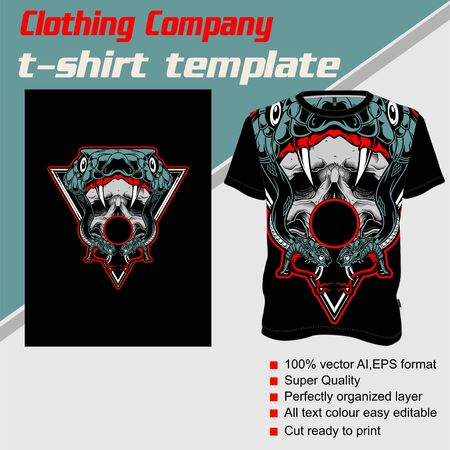 T-shirt template, fully editable with snake skull vector 矢量图像