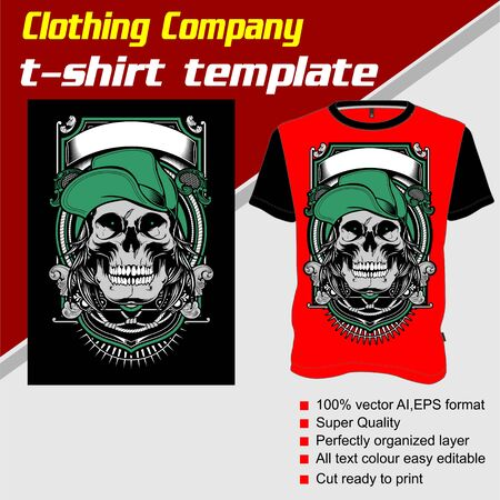 T-shirt template, fully editable with skull wearing cap vector