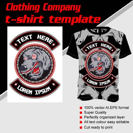 T-shirt template, fully editable with wolf vector 矢量图像