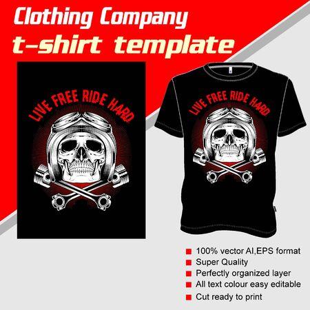 T-shirt template, fully editable with skull helmet vector 矢量图像