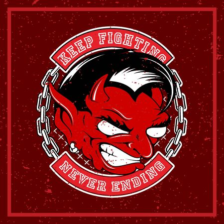 grunge style angry red devil vector illustration