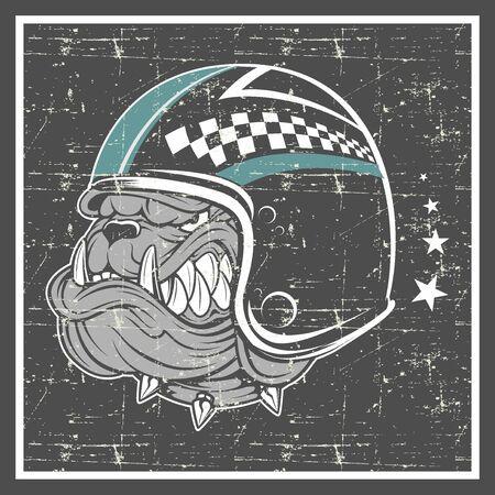 grunge style bulldog wearing helmet -vector 矢量图像