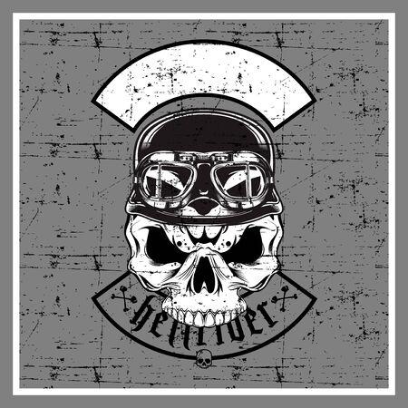 grunge style skull wearing retro helmet-vector 矢量图像
