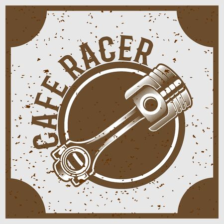 vintage grunge style piston with text cafe racer,vector 矢量图像