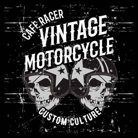 vintage grunge style  skull wearing helmet hand drawing vector