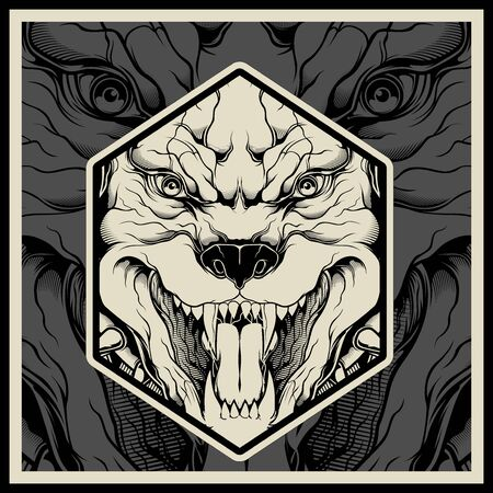 Vector illustration Angry pitbull mascot head, on a black background Çizim