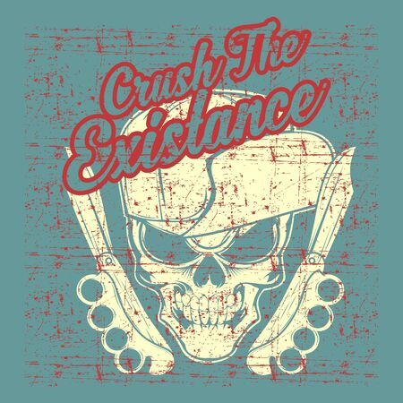 grunge style vintage skull wearing hat hand drawing vector