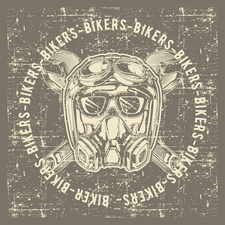 grunge style vintage skull skull bikers wearing helmet and wrench hand drawing vector