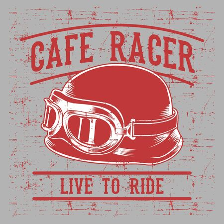 Cafe racer biker helmet with inscription Live to Ride-Ride to Live. Vintage typography art for tee shirt print,clothes,apparel. 矢量图像