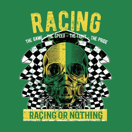 grunge style vintagebiker rider skull tattoo banner with racing checkered flags vector illustration
