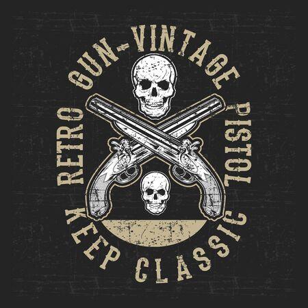 pistolet vintage style grunge et vecteur de dessin à la main du crâne