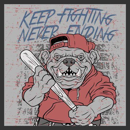 grunge style vintage bulldog handling baseball bats and wearing cap hand drawing vector 写真素材 - 126492857