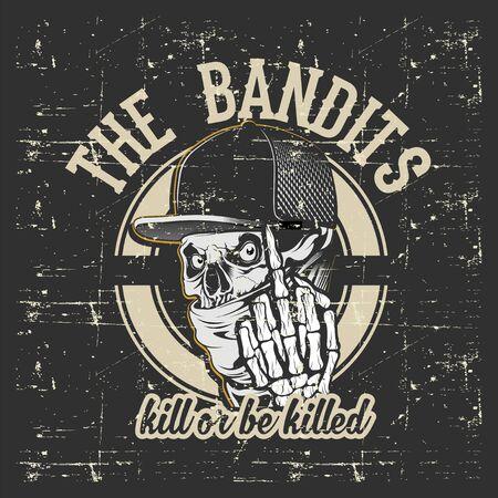 skull bandits wearing cap and bandana hand drawing vector Ilustração