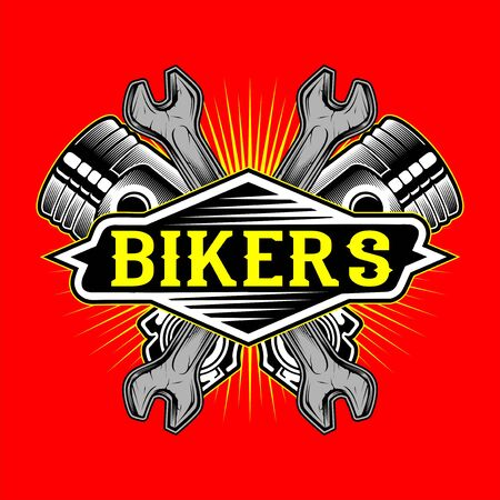 grunge style bikers logo piston and wrench hand drawing vector 矢量图像