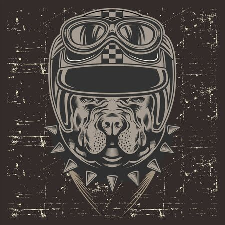 grunge style pit bull wearing helmet retro,hand drawing vector 矢量图像