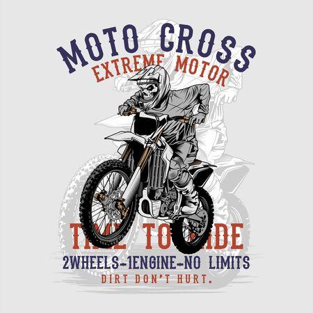grunge style skull motor cross hand drawing vector