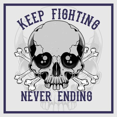 skull cross bone keep fighting never ending hand drawing vector 写真素材 - 126492673