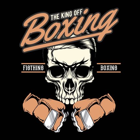 Gym badge of boxing skull.hand drawing vector hand drawing,Shirt designs, biker, disk jockey, gentleman, barber and many others. isolated and easy to edit. Vector Illustration - Vector