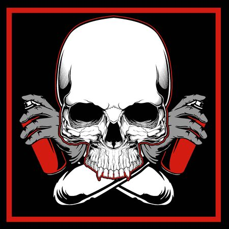 Vector skull painting graffiti hand drawing,Shirt designs, biker, disk jockey, gentleman, barber and many others. isolated and easy to edit. Vector Illustration - Vector