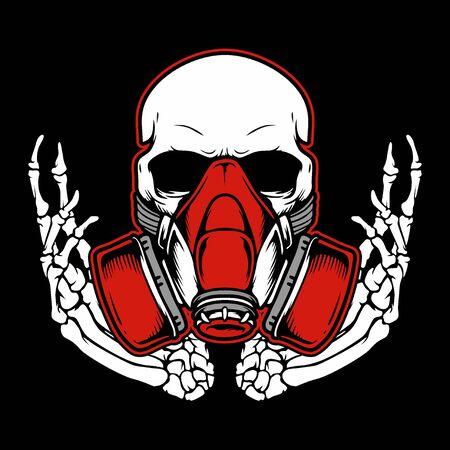 Cráneo de graffiti con dibujo a mano con máscara de gas, diseños de camisetas, moteros, jockey de discos, caballeros, peluqueros y muchos otros. aislado y fácil de editar. Ilustración vectorial - Vector