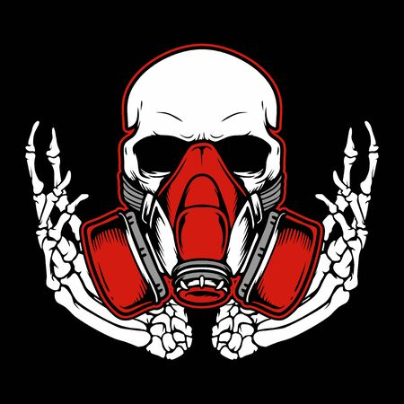 Graffiti skull with gas mask hand drawing,Shirt designs, biker, disk jockey, gentleman, barber and many others. isolated and easy to edit. Vector Illustration - Vector Archivio Fotografico - 126492679