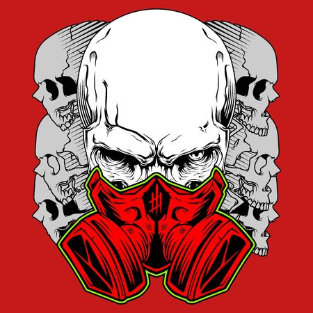 Human skull in gas mask. Hand drawn Toxicity emblem. hand drawing,Shirt designs, biker, disk jockey, gentleman, barber and many others. isolated and easy to edit. Vector Illustration - Vector Illustration