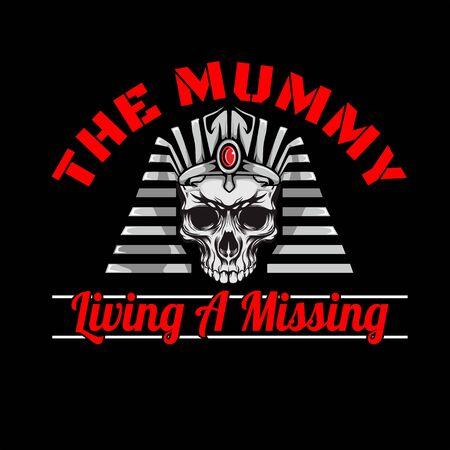 the mummy Pharaoh Skull head hand drawing vector