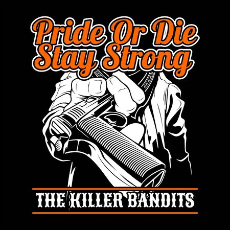 the killer bandit.give a gun.vector hand drawing,Shirt designs, biker, disk jockey, gentleman, barber and many others.isolated and easy to edit. Vector Illustration - Vector 矢量图像