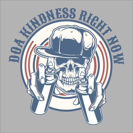skull spray do a kindness right now.skull struggling. .vector hand drawing,Shirt designs, biker, disk jockey, gentleman, barber and many others.isolated and easy to edit. Vector Illustration - Vector