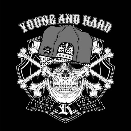 skull young hard wearing cap. .vector hand drawing,Shirt designs, biker, disk jockey, gentleman, barber and many others.isolated and easy to edit. Vector Illustration - Vector