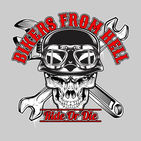skull bikers from hell , .vector hand drawing,Shirt designs, biker, disk jockey, gentleman, barber and many others.isolated and easy to edit. Vector Illustration - Vector