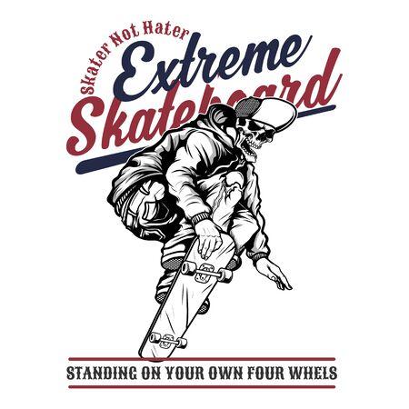 Schädel extremes Skateboard, .vector Handzeichnung, Shirt-Designs, Biker, Diskjockey, Gentleman, Friseur und viele andere.isoliert und leicht zu bearbeiten. Vektor-Illustration - Vektor