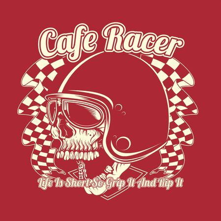 skull helmet cafe racer hand drawing vector 矢量图像