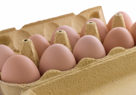 Brown eggs in container isolated on white  Close-up Stock Photo - 14215293