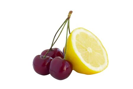 Bunch of cherry with lemon isolated on white background Stock Photo - 14532892