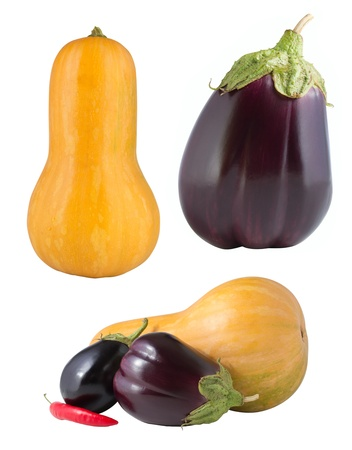 Set of vegetables isolated on white photo