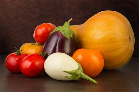 Fresh vegetables on the dark background photo
