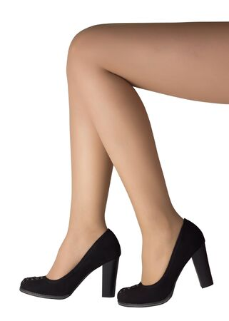 Closeup womans legs with black high heel shoes isolated on white background Stock Photo - 15830303