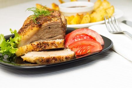 gilled: Served Food with Meat and Gilled Potato Stock Photo