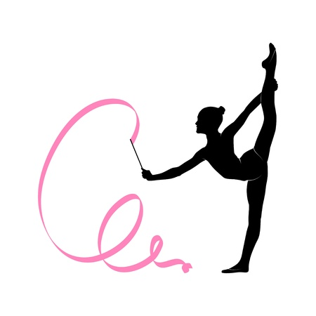 female gymnast: Silhouette of gymnastic girl