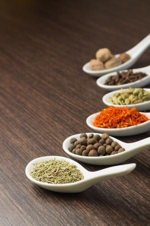 Spices in Ceramic Spoon