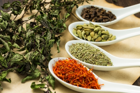 Variuos of Spices with branch of dried Mint Stock Photo