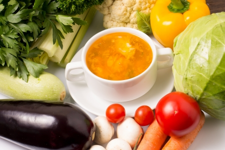 horisontal: Soup with Vegetables around Stock Photo