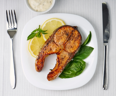 prepared fish: Grilled Salmon Steak. Top View