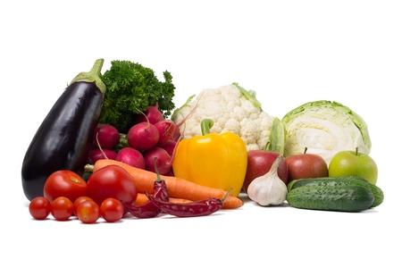 Set of Fresh Vegetables on white background Stock Photo