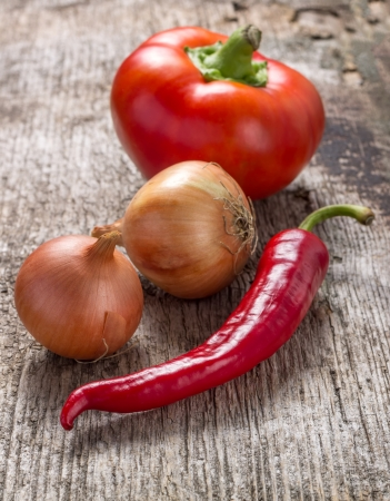 Vegetables on rustic wooden background
