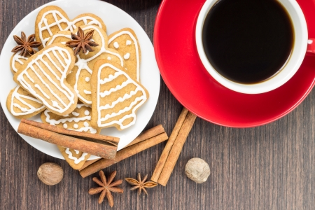Two cups of coffee with gingerbread cookies. Top view photo