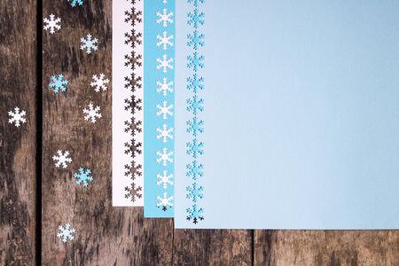 Christmas decoration ornament over wood grunge background photo