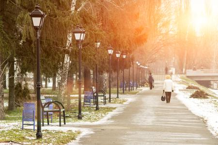 Sunny Winter City Park landscape background photo